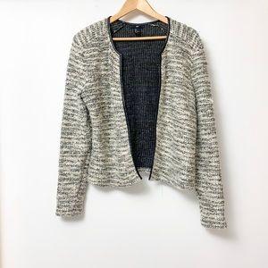 H&M Grey Beige Tweed Open Front Blazer Jacket